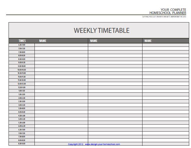 Homeschool Daily Checklist Template - daily timetable template