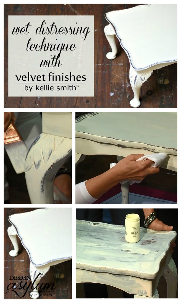 Take a look at this tutorial for the easiest way to distress furniture! How to Distress Furniture using Water, water distressing technique.