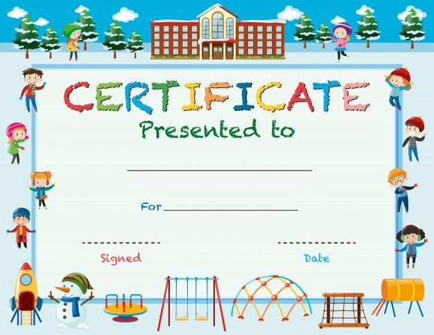 Certificate template with kids in winter at school ePin u2013 Free - school certificate templates