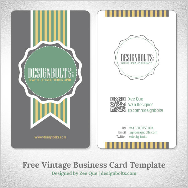 Free Simple Yet Elegant Vintage Business Card Design Template With - card design template