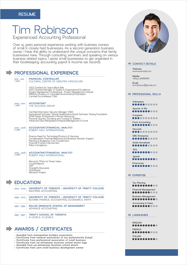 exemple cv english accountant