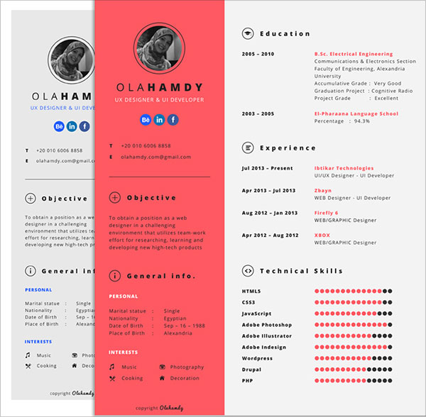 10 Best Free Resume (CV) Templates in Ai, Indesign  PSD Formats - graphic design cv example