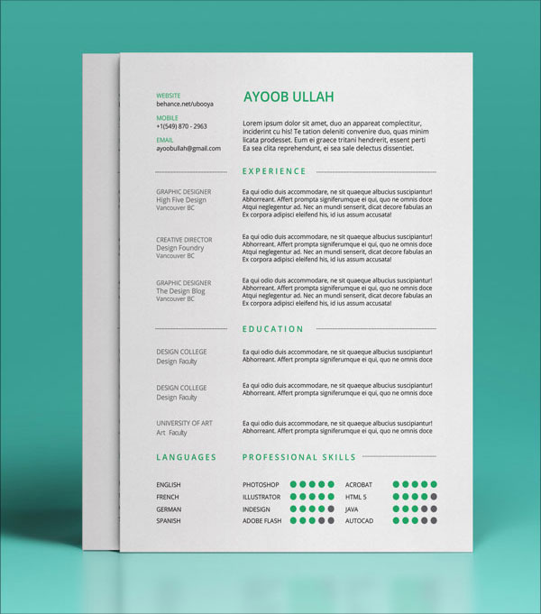 10 Best Free Resume (CV) Templates in Ai, Indesign  PSD Formats - Best Template For Resume