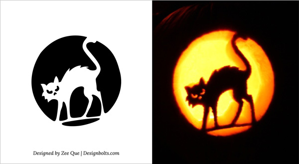10 Free Printable Scary Pumpkin Carving Patterns, Stencils  Ideas 2014 - cat pumpkin template