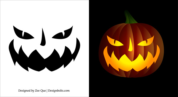 10 Free Printable Scary Pumpkin Carving Patterns, Stencils  Ideas 2014