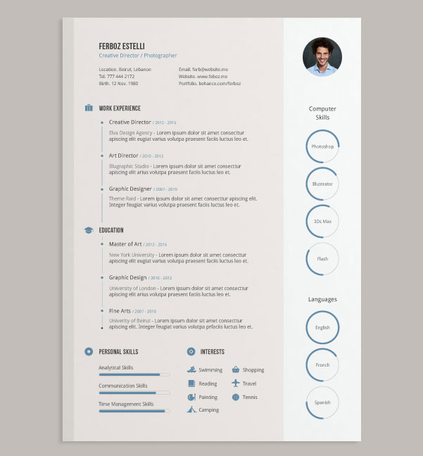 20 Best Free Resume (CV) Templates in Ai, Indesign  PSD Formats - design cv template