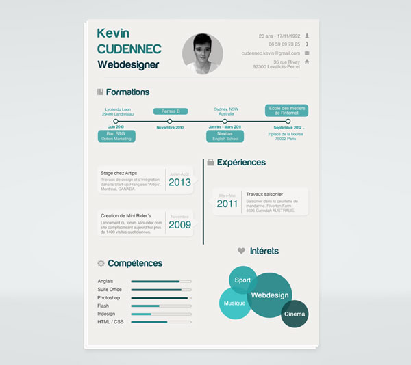free infographic resume template psd