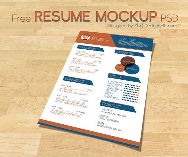 free mockup psd cv resume