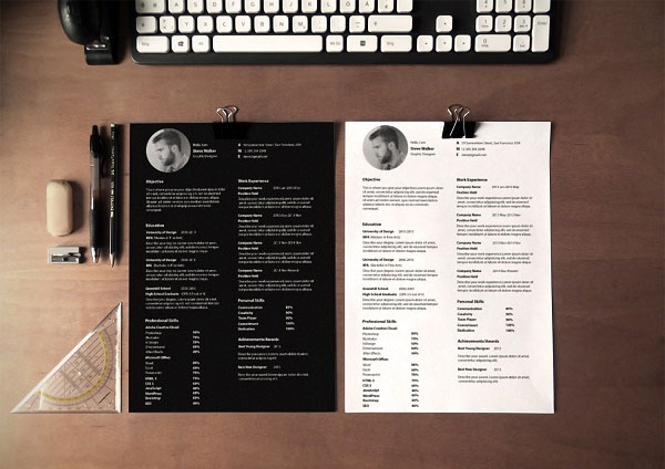 10 Best Free Resume (CV) Design Templates in Ai  Mockup PSD Collection