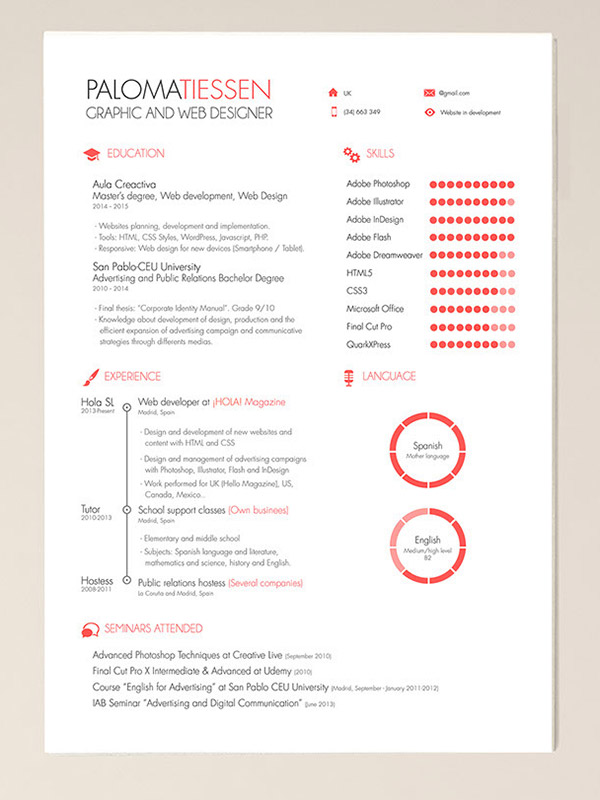 template cv free indesign