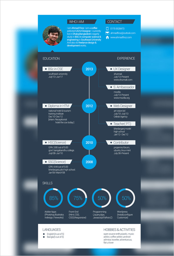 flat design cv template word