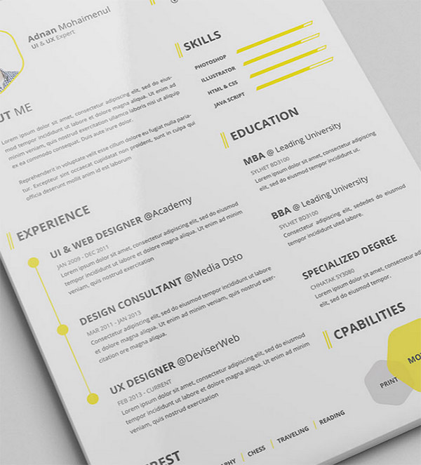 50+ Beautiful Free Resume (CV) Templates in Ai, Indesign  PSD Formats - Resume/cv Template