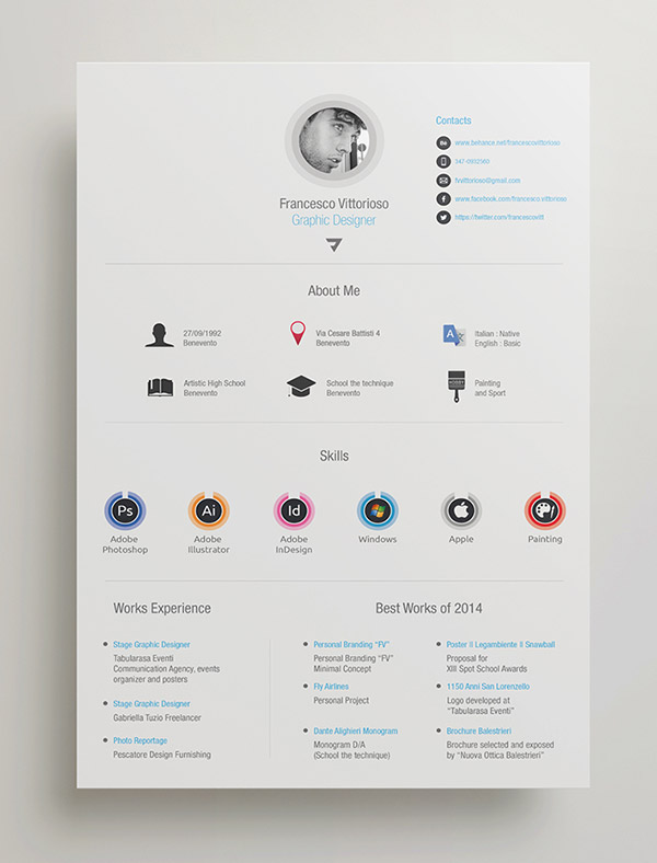template cv adobe indesign