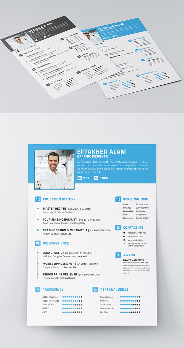 50+ Beautiful Free Resume (CV) Templates in Ai, Indesign  PSD Formats - photoshop resume templates