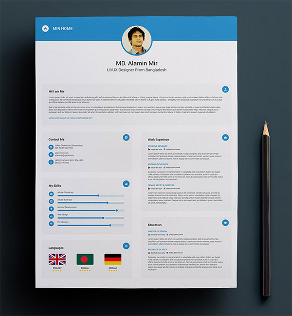 creative resume cv psd template free download