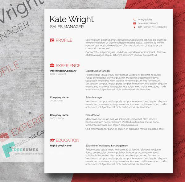 50+ Beautiful Free Resume (CV) Templates In Ai, Indesign  PSD Formats