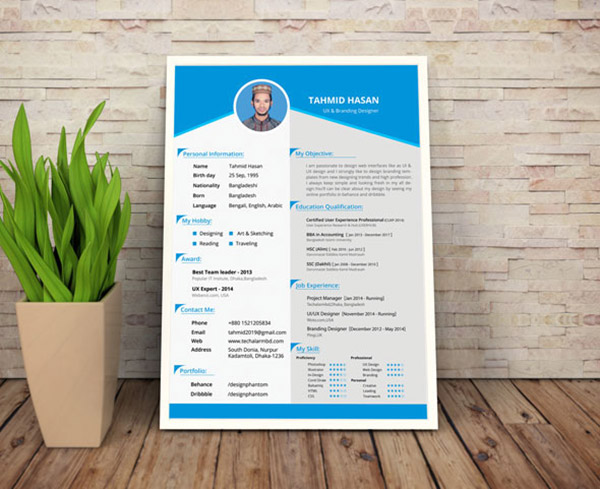 Cv Resume Template Din A4 Free Psd Corporate One Page Download - Free Resume Templates Australia Download