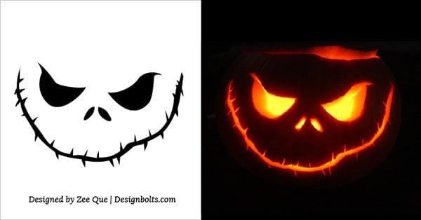 10 Free Scary Halloween Pumpkin Carving Patterns / Stencils  Ideas