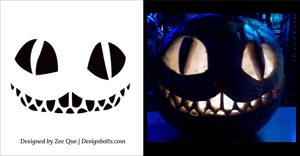 5 Free Scary Halloween Pumpkin Carving Patterns / Stencils  Ideas - cat pumpkin template