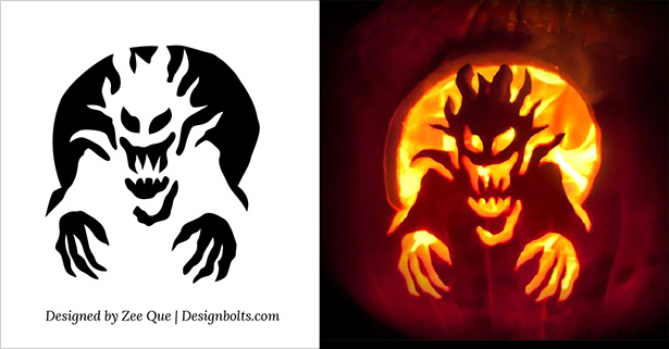 Free Halloween Scary Pumpkin Carving Stencils / Patterns / Templates