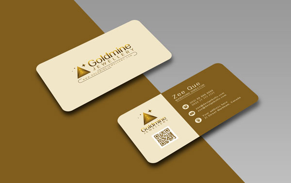 Free Logo, Rounded Corner Business Card Design Template  Mock-up PSD