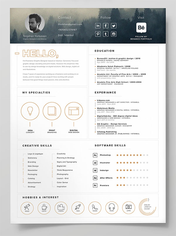 10 Best Free Resume (CV) Templates in Ai, Indesign, Word  PSD Formats - Free Templates For Resume