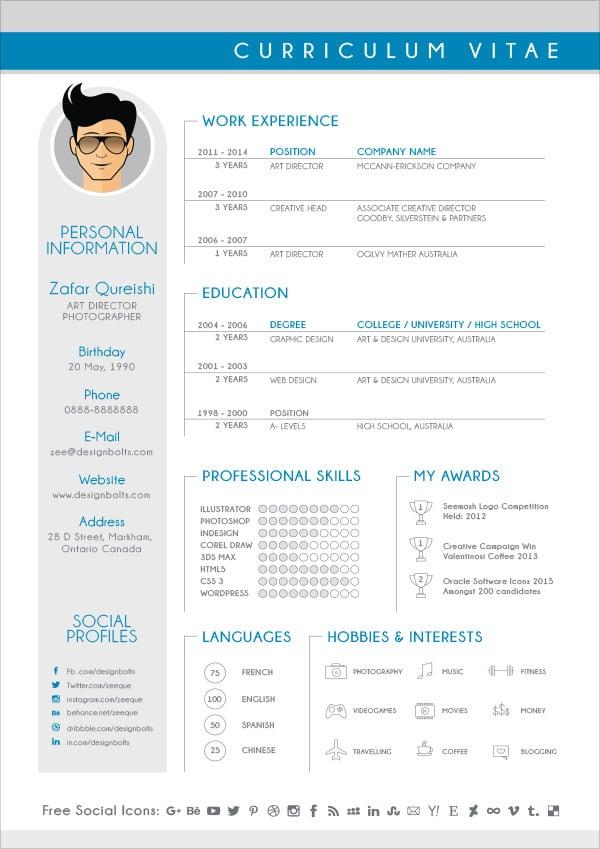 Free Modern CV / Resume Design Template For Graphic Designers - modern resume design