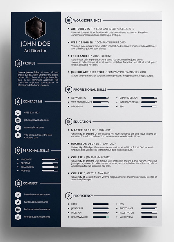indesign psd cv template free