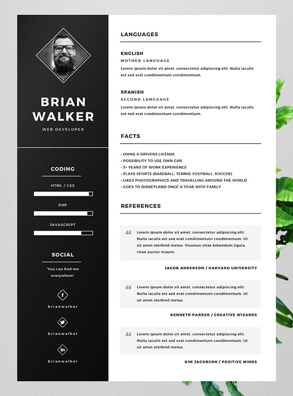 10 Best Free Resume (CV) Templates in Ai, Indesign, Word  PSD Formats - Resume Template Word Free