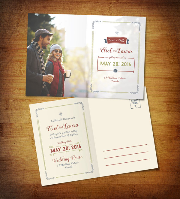 Free Save the Date Pre-Wedding Post Card Design Template