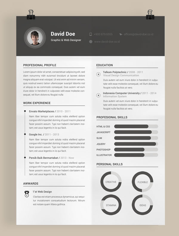 template cv it indesign