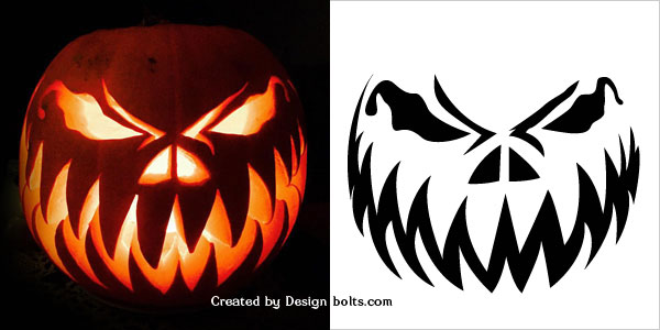 10 Free Halloween Scary Pumpkin Carving Stencils, Patterns