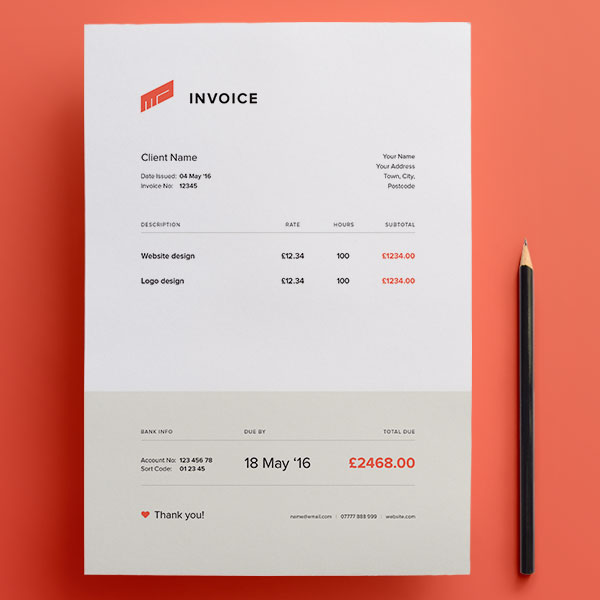 Top 10 Best Free Professional Invoice Template Designs in Ai  PSD - graphic design invoice sample