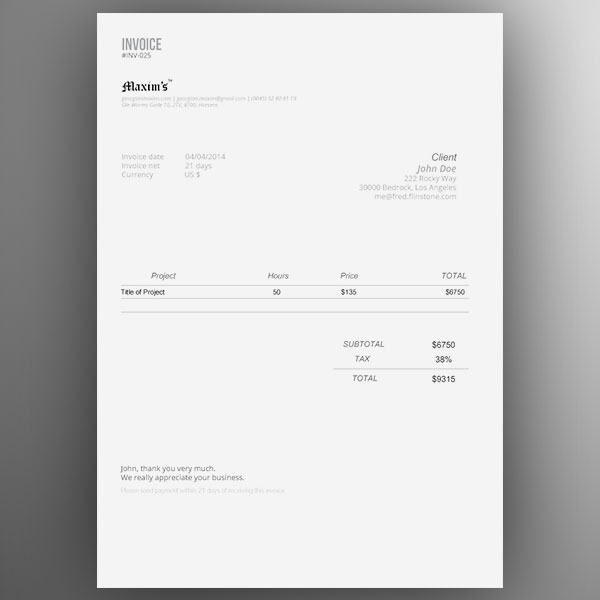 Top 10 Best Free Professional Invoice Template Designs in Ai  PSD - invoice style
