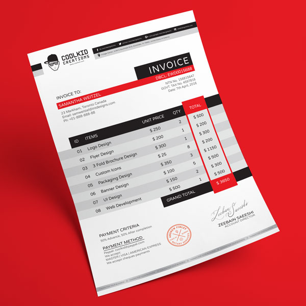 Top 10 Best Free Professional Invoice Template Designs in Ai \ PSD - graphic design invoice sample