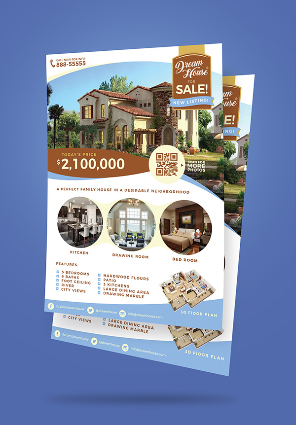 Free Real Estate (House For Sale) Flyer Design Template (Ai)  Mock