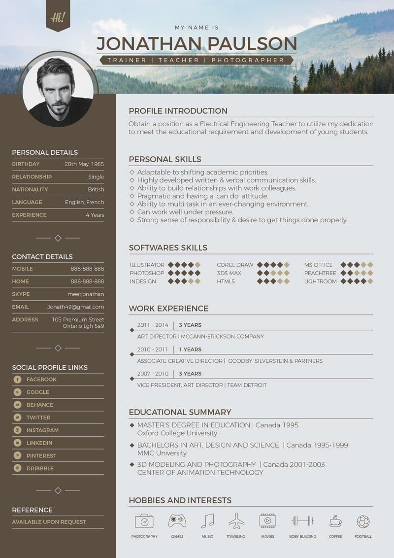 Download Resume Format Write The Best Resume Free Professional Modern Resume Cv Portfolio Page
