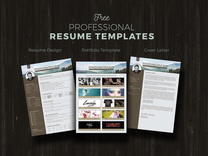 Free Professional Modern Resume (CV), Portfolio Page  Cover Letter