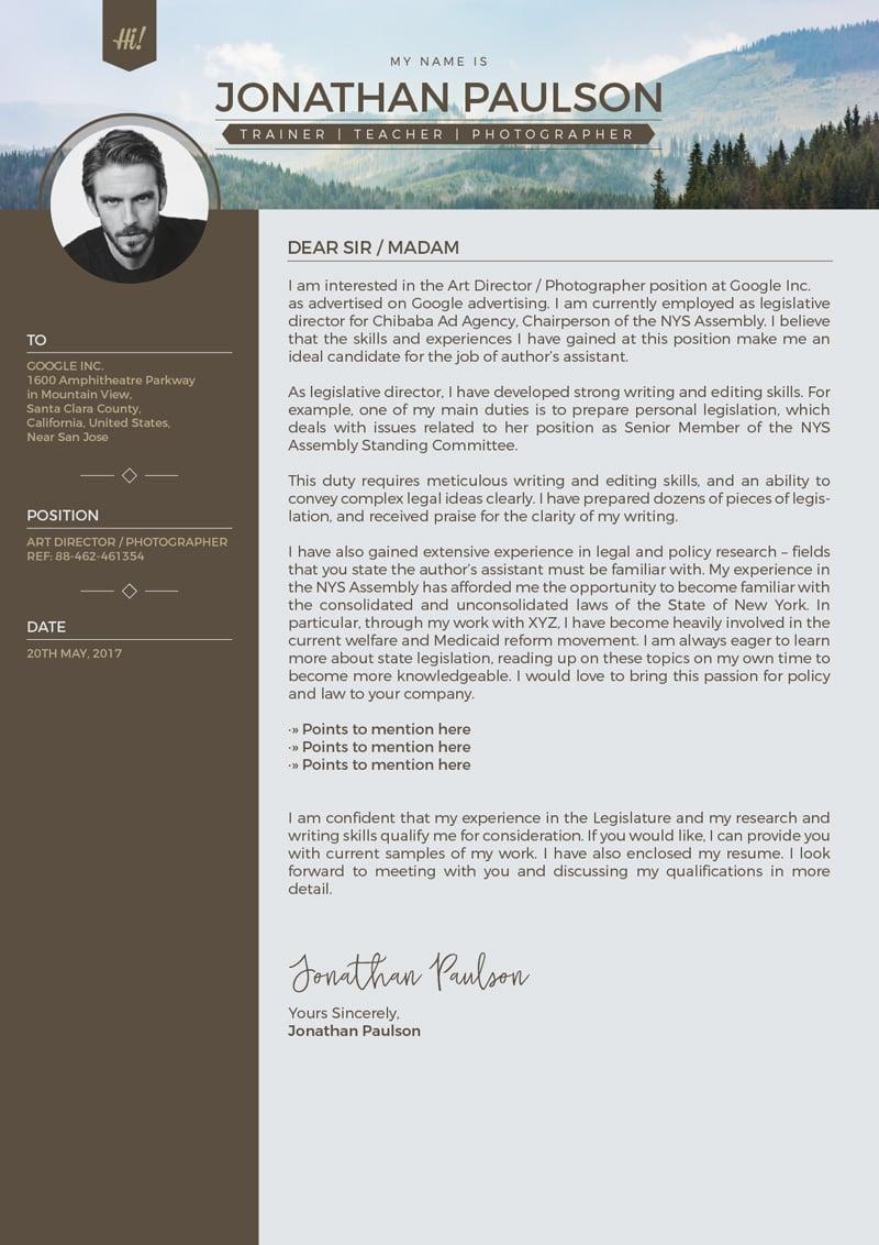 professional cover letter for modern resume