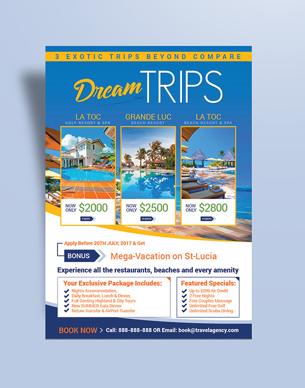 Free Travel Agency  Vacation Flyer Design Template - design a flyer free