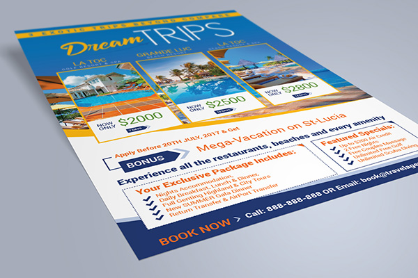 Free Travel Agency  Vacation Flyer Design Template