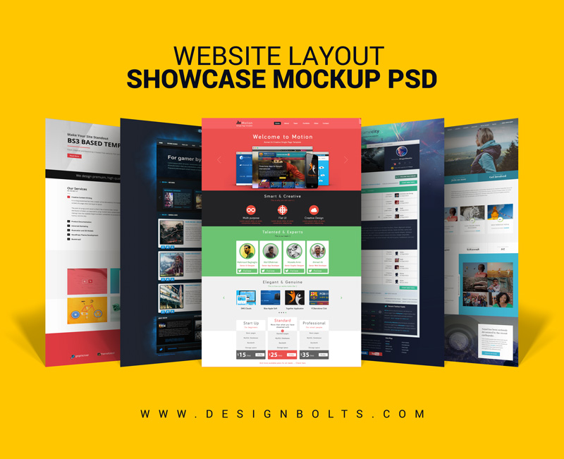 Free Website Layout Design Showcase Mock-up PSD for Web Designers