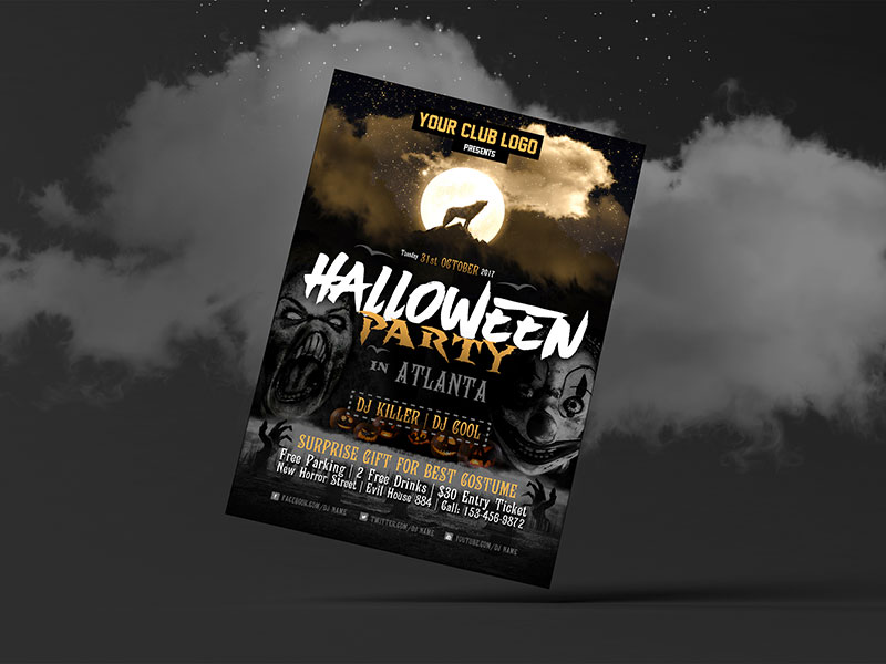 Free Halloween Party Costume Flyer Design Template 2017 - free flayer design