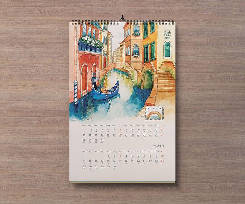 Free Portrait  Landscape Wall Calendar Mockup PSD Files