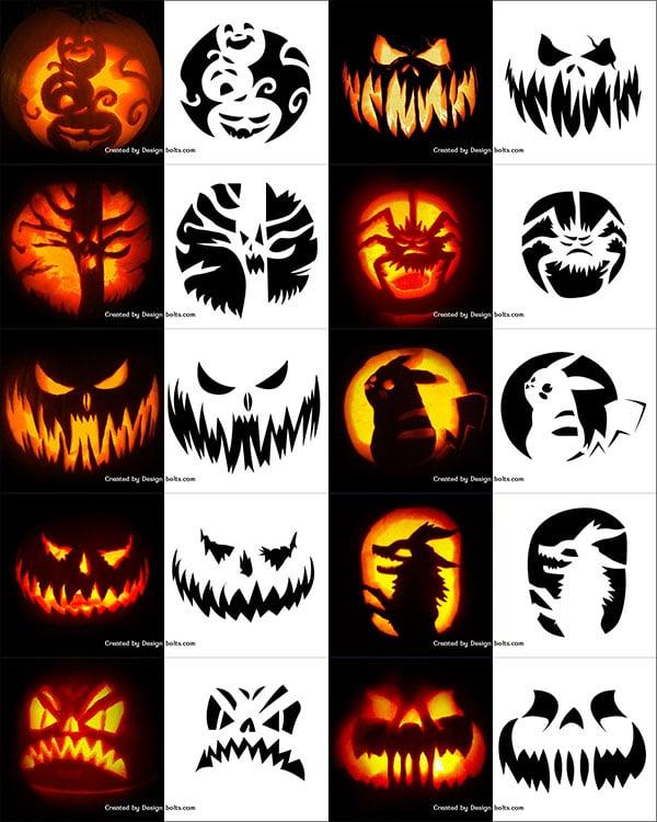 290+ Free Printable Halloween Pumpkin Carving Stencils, Patterns