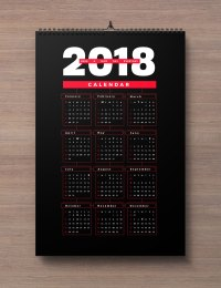 Free 2018 Wall Calendar Printable Design Template in Ai ...