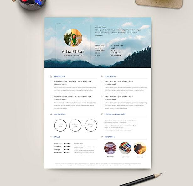 10 Free Professional Resume (CV) Template Designs 2018 in PSD, Ai - resume template designs