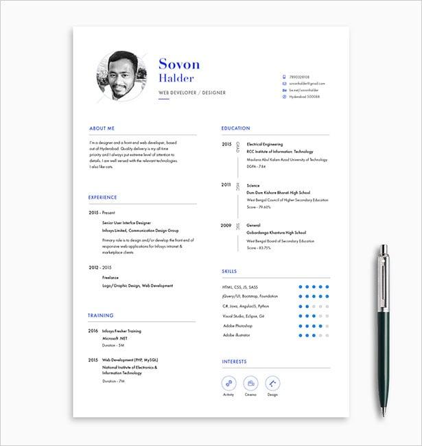 10 Free Professional Resume (CV) Template Designs 2018 in PSD, Ai - free professional resume templates