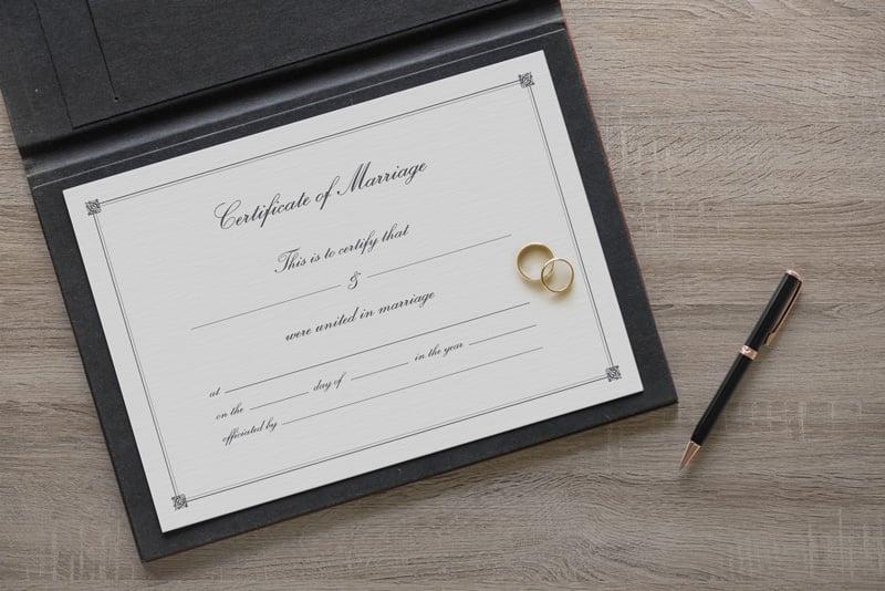 Free Marriage Certificate Template  Mockup PSD - wedding certificate template