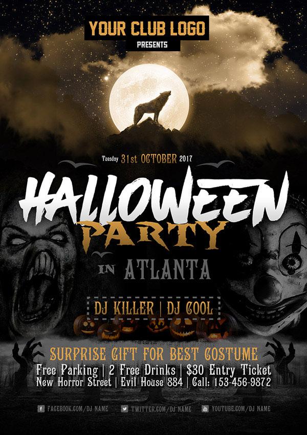 60+ Free Halloween Posters, Invitation Flyers  Print Templates 2018